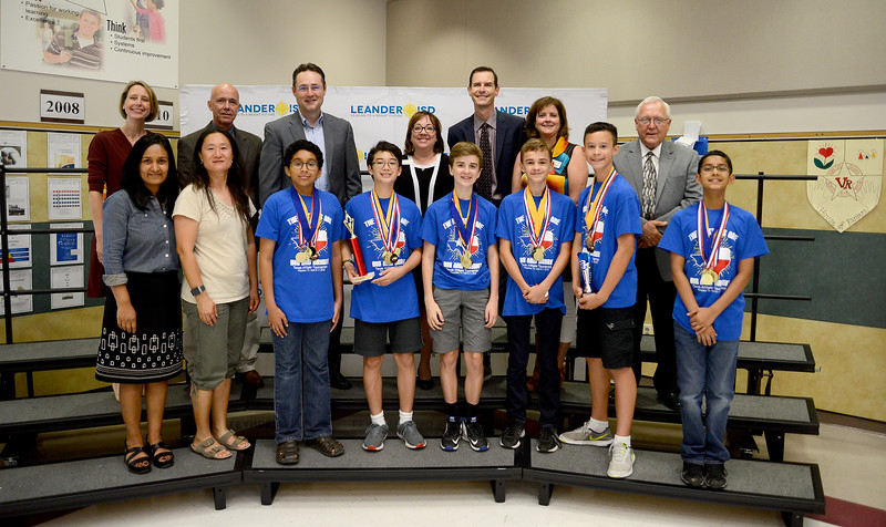 "Cedar Park Middle School DI Team, ""The Thinkers,"" recognized for finishing 6th out of 94 teams in the Drop Zone Engineering MS Level at the Global Destination Imagination Competition. Team members include Alex Thummalapalli, Will Schmitt, Arnav Batra, Scott Marsh, Evan Spahr and Nicholas Doluisio. Team managers include Lakshmi Rao and Hye Kyung Lee."
