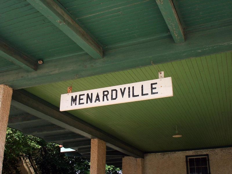 MENARDVILLE DEPOT SIGN Just a shot to give the sign -- and the old town -- its just due.