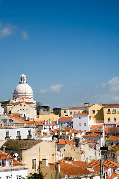 View of Lisbon with the dome of Santa Engracia church on the top.
