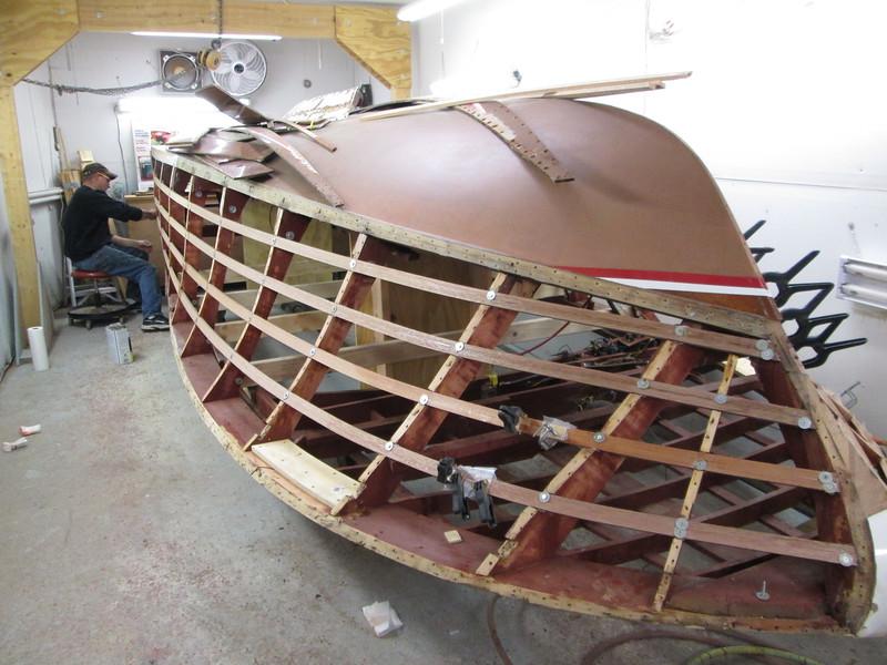 New port side battens being installed.