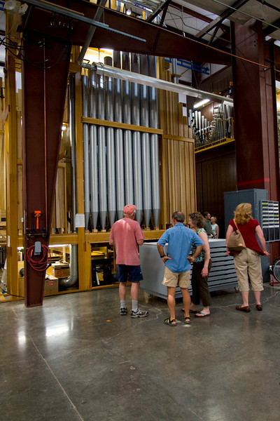 """This organ is destined for St. James' Episcopal Church in New York City.  It's been under construction for nearly 2 years, and now it's ready to dismantle, pack, ship, and commission in it's permanent home.  It will take 4 months to set up, """"voice"""" (tune), and tweak to exacting specs.    The largest pipes are nearly 3 stories high.  The tiny ones are about 3""""."""