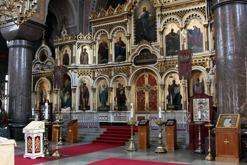 Interior of Uspensky Cathedral (Russian Orthodox).