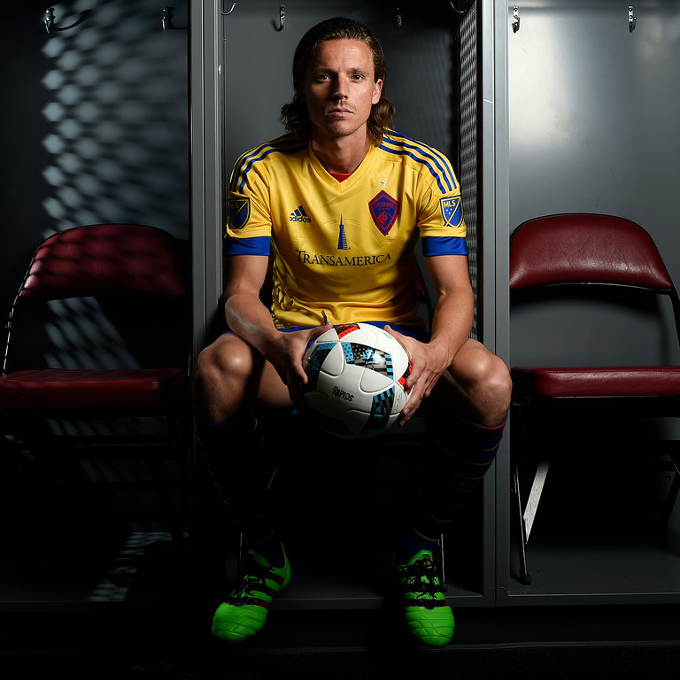 . COMMERCE CITY, CO - FEBRUARY 11: Marc Burch poses for a portrait during Colorado Rapids media day on Thursday, February 11, 2016. (Photo by AAron Ontiveroz/The Denver Post)