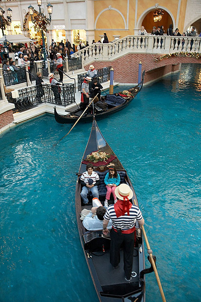 Gondolas inside the Venetian.