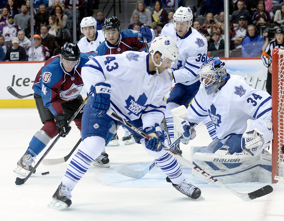 . DENVER, CO. - JANUARY 21:  Avalanche defenseman Tyson Barrie (4) has the puck slip under his stick in front of the net in the third period. The Toronto Maple Leafs defeated the Colorado Avalanche 5-2 Tuesday night, January 21, 2014 at the Pepsi Center. Photo By Karl Gehring/The Denver Post