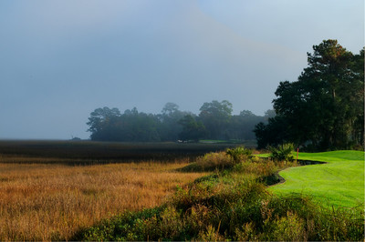 A foggy morning. On the 4th fairway of Cougar Point golf course, looking toward the Kiawah River.