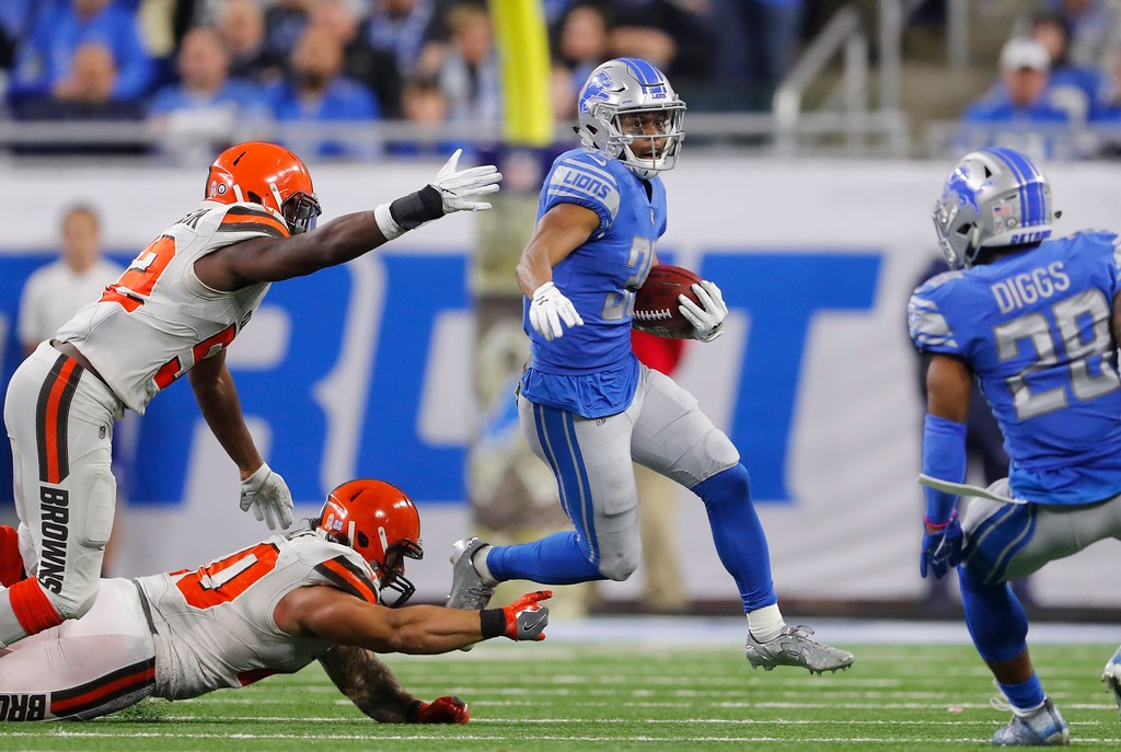 . Detroit Lions cornerback Jamal Agnew rushes during the second half of an NFL football game against the Cleveland Browns, Sunday, Nov. 12, 2017, in Detroit. (AP Photo/Paul Sancya)