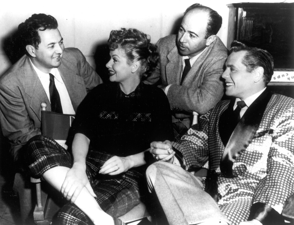 ". ""I Love Lucy\""  Director Marc Daniels (left) confers with scriptwriter Jess Oppenheimer, Lucille Ball and Desi Arnaz.   Los Angeles Daily News file photo"