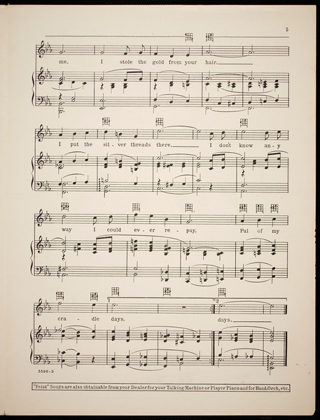 Pal of my cradle days: a beautiful, mother waltz ballad