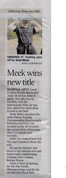 Andy Meek 1st Combat Karate & Elite Self Defence Dan Black Belt Wins Australian Title