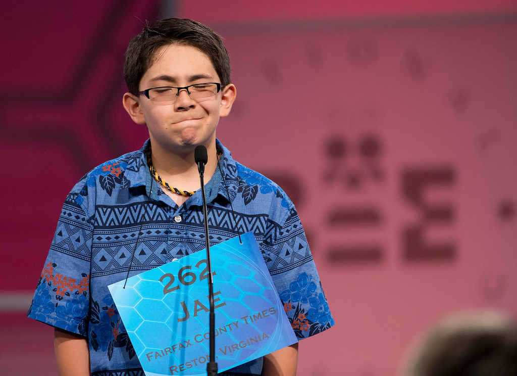 ". `Sixth grade student Jae Canetti, 12, of Fairfax, Va., cringes his face after incorrectly spelling his word ""parseval\"" during the semifinals of the Scripps National Spelling Bee, Thursday, May 29, 2014, at National Harbor in Oxon Hill, Md.  (AP Photo/Manuel Balce Ceneta)"
