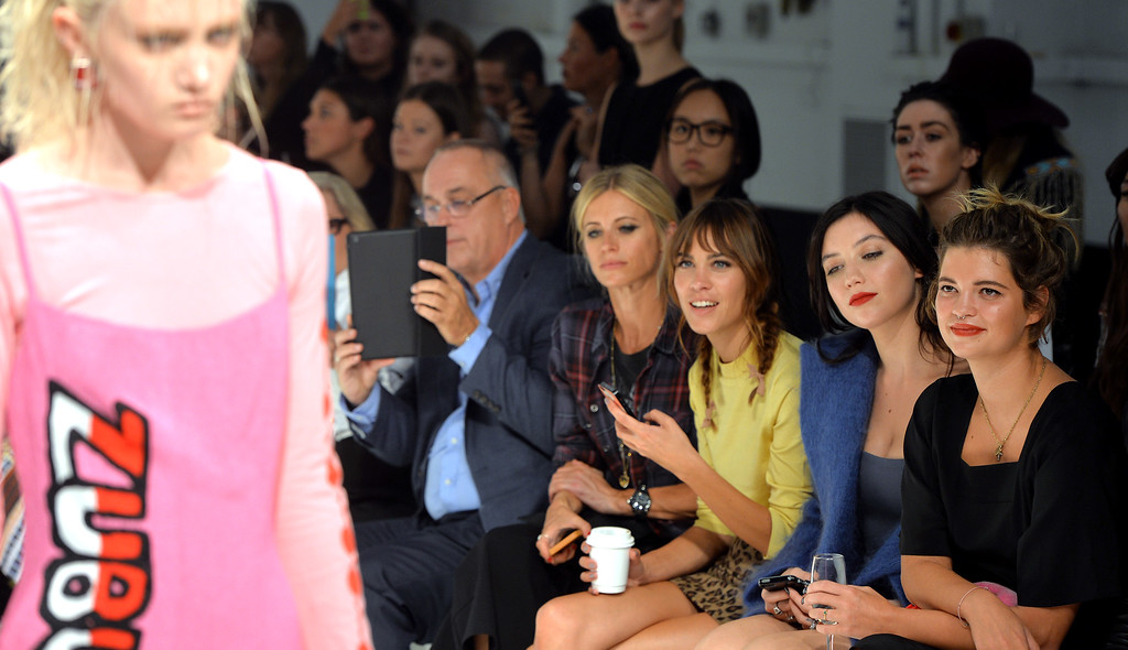 . Laura Bailey, Alexa Chung, Daisey Lowe and Pixie Geldof attend the Ashley Williams show during London Fashion Week Spring Summer 2015 at TopShop Show Space on September 14, 2014 in London, England.  (Photo by Anthony Harvey/Getty Images)