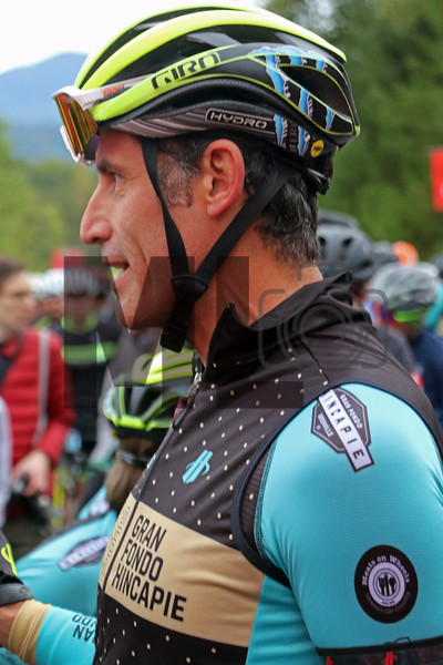 George Hincapie prepares to ride at the Gran Fondo Hincapie Greenville in Travelers Rest, S.C., on October 19, 2019