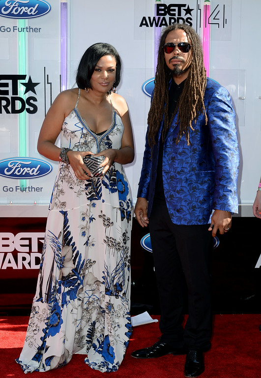 . DJ Beverly Bond (L) and musician Bazaar Royale attend the BET AWARDS \'14 at Nokia Theatre L.A. LIVE on June 29, 2014 in Los Angeles, California.  (Photo by Earl Gibson III/Getty Images for BET)