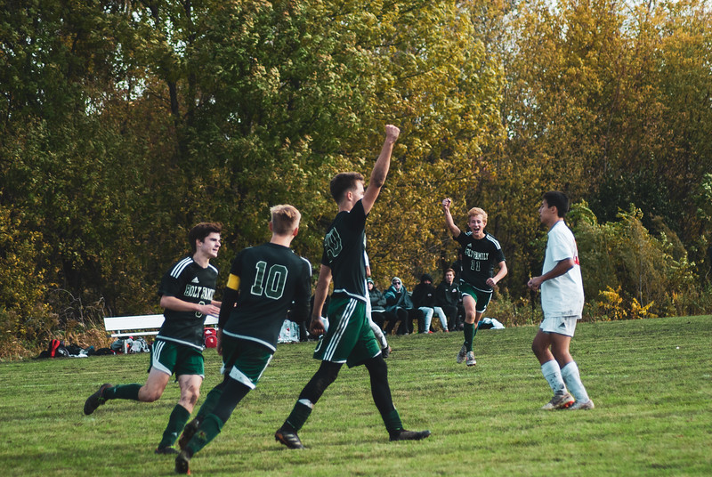 Holy Family Varsity Soccer vs. Mound Westonka Oct 13, 2018: Joe Fasching '19 (20) & Bishop Schugel '21 (11)