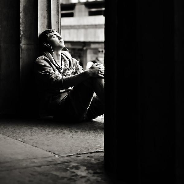 Listening to Music - Edinburgh - Street Portrait