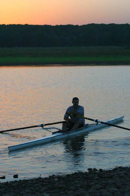 Rowing off into the sunset