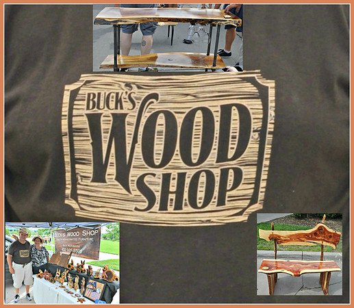 "Buck & Liz Redinbaugh's ""Buck's Wood  Shop"" display at Aksarban Farmer's Market - Sunday, June 24, 2018"