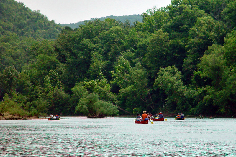 The Buffalo National River had lots of beautiful scenery.  The river runs through a region of awesome cliffs and hills covered with trees.