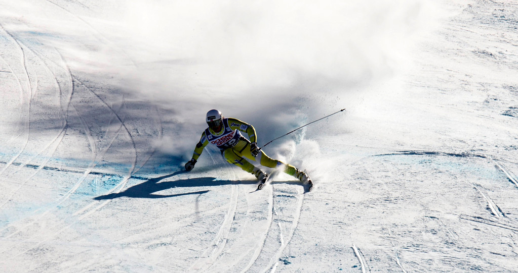 . Kjetil Jansrud of Norway holds his edge to finish sixth in the FIS Alpine World Cup men\'s Super G on December 1, 2012 in Beaver Creek, Colorado.    DON EMMERT/AFP/Getty Images