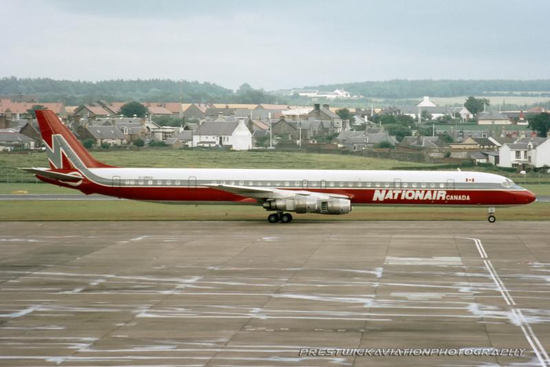 C-GMXQ.  McDonnell Douglas DC-8-61. Nationair. Prestwick. 1980`s.