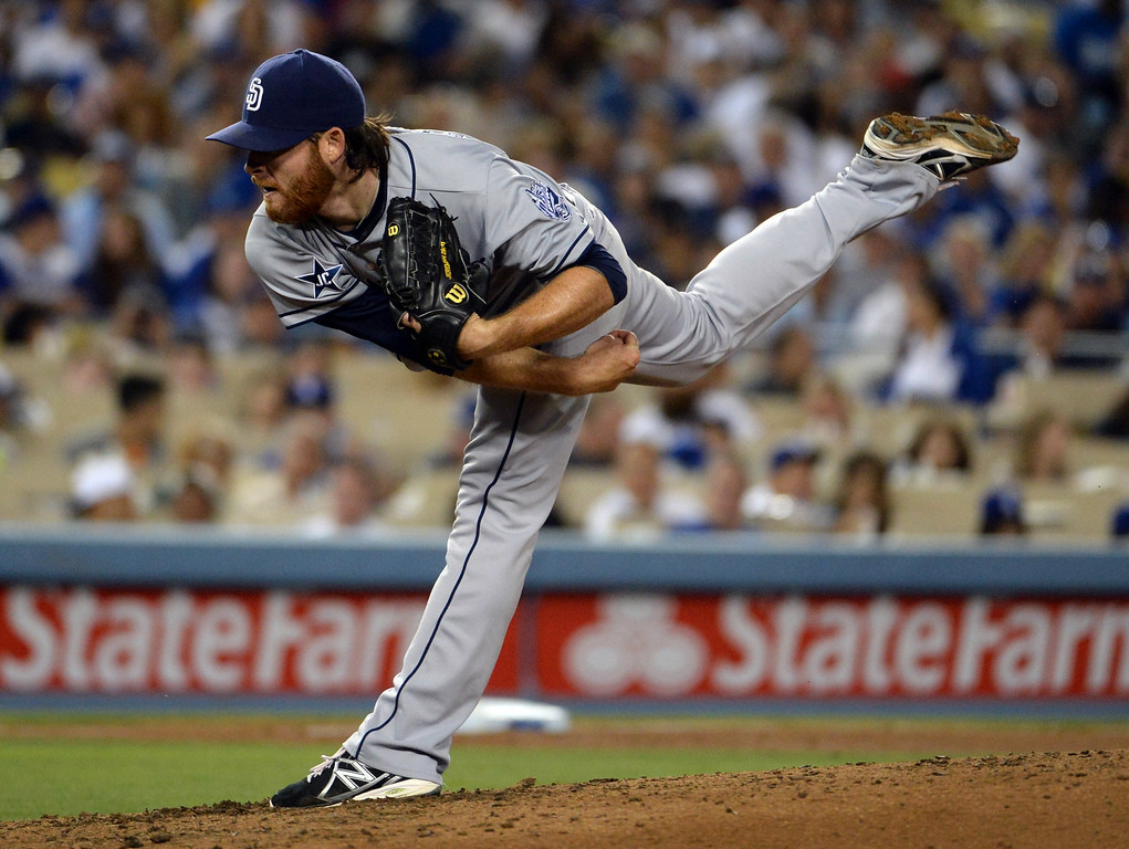 . San Diego Padres starting pitcher Ian Kennedy throws to the plate against the Los Angeles Dodgers in the seventh inning of a Major league baseball game on Saturday, July 12, 2014 in Los Angeles.   (Keith Birmingham/Pasadena Star-News)