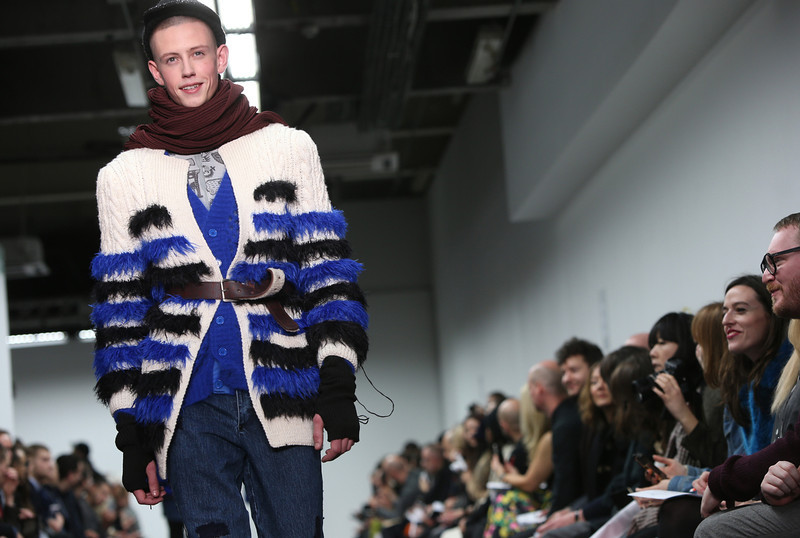 . A model wears a design created by Sibling during the London Collections for Men Autumn/Winter 2014 fashion show, at Victoria House in central London, Wednesday, Jan. 8, 2014. (Photo by Joel Ryan/Invision/AP)