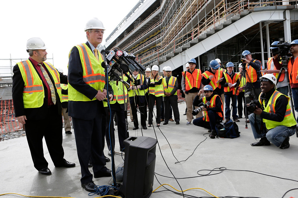 . Chuck Reed, San Jose mayor, speaks during a press conference at the construction site of the new 49ers stadium in Santa Clara, Calif. on Wednesday, March 6, 2013. The Super Bowl Host Committee is competing against Miami for the bragging rights of hosting the 50th Super Bowl in 2016.  (Gary Reyes/ Staff)