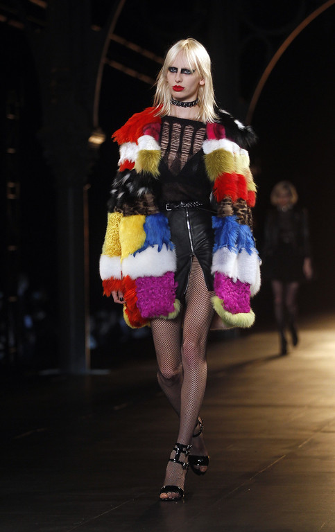 . A model walks the runway during the Saint Laurent show as part of the Paris Fashion Week Womenswear Fall/Winter 2015/2016 on March 9, 2015 in Paris, France.  (Photo by Thierry Chesnot/Getty Images)