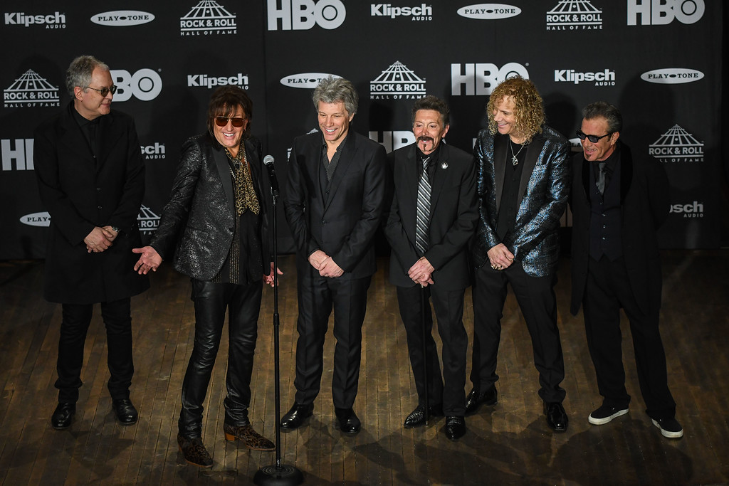 . Eric Bonzar�The Morning Journal<br> Bon Jovi was inducted into the Rock and Roll Hall of Fame during the museum\'s 33rd induction ceremony held at Cleveland\'s Public Auditorium, April 14, 2018.