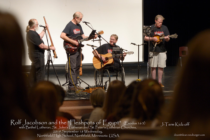 "Rolf Jacobson and the ""Fleshpots of Egypt""  (Exodus 16:3) with Bethel Lutheran, St. John's Lutheran and St. Peter's Lutheran Churches, 2019 September 18 Wednesday, Northfield High School, Northfield, Minnesota  USA"