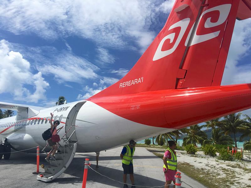Getting aboard our Air Tahiti flight from Bora Bora to Rangiroa