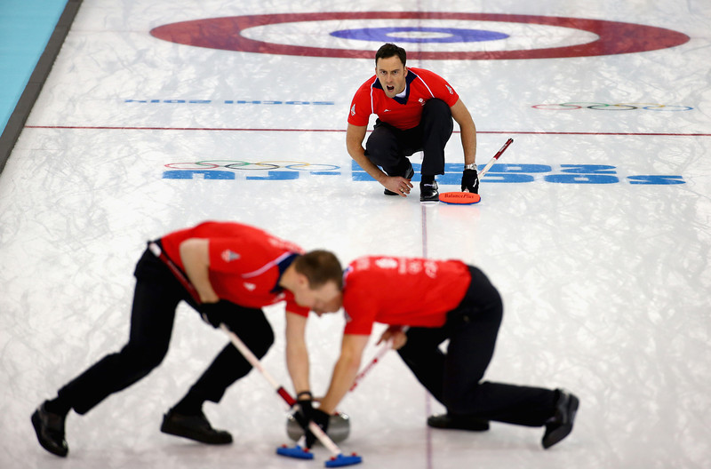 . David Murdoch of Great Britain competes in the men\'s round robin session against Germany during day four of the Sochi 2014 Winter Olympics at Ice Cube Curling Center on February 11, 2014 in Sochi, Russia.  (Photo by Streeter Lecka/Getty Images)