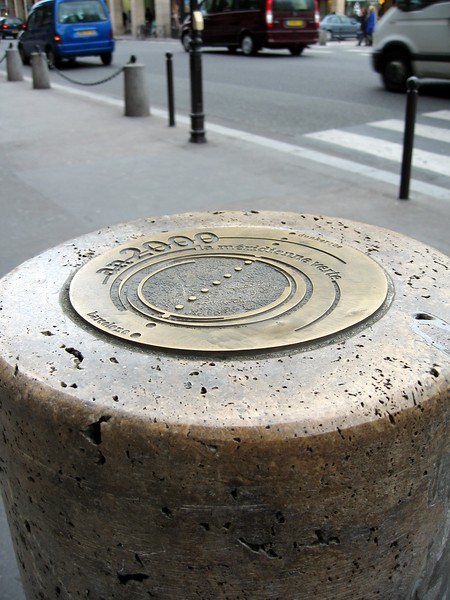 A marker for La Méridienne Verte (The Green Meridian), a project that seeks to plant trees across the entire length of the Paris Meridian