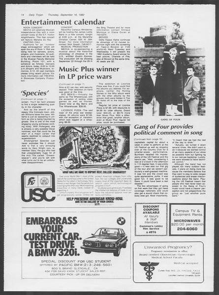 Daily Trojan, Vol. 92, No. 8, September 16, 1982