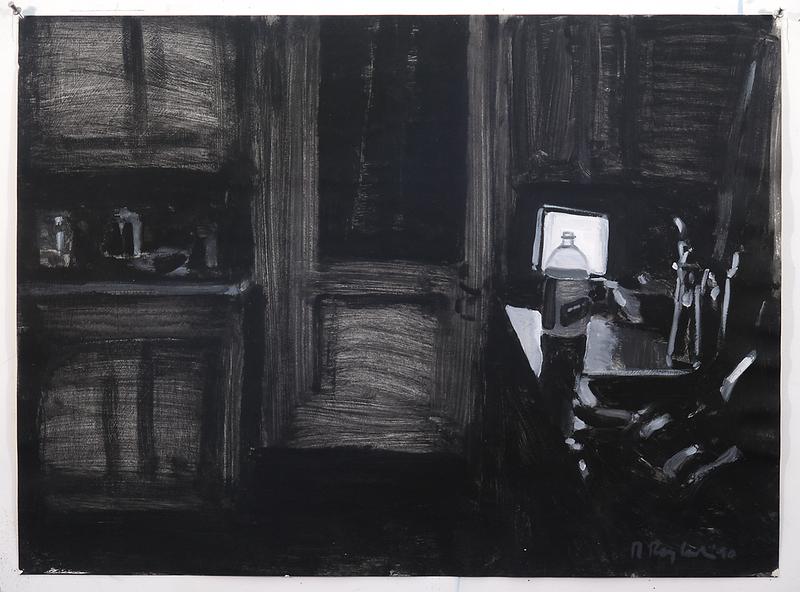 Night Kitchen II (b/w); acrylic on paper, 22 x 30 in, 1990