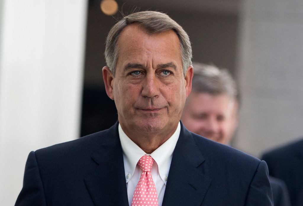 . House Speaker John Boehner of Ohio walks to a House Republican Conference meeting to discuss the ongoing budget fight, Monday, Sept. 30, 2013, on Capitol Hill in Washington. Republican unity showed unmistakable signs of fraying Monday as Democrats and the White House vowed to reject tea party-driven demands to delay the nation\'s health care overhaul as the price for averting a partial government shutdown at midnight.  (AP Photo/ Evan Vucci)