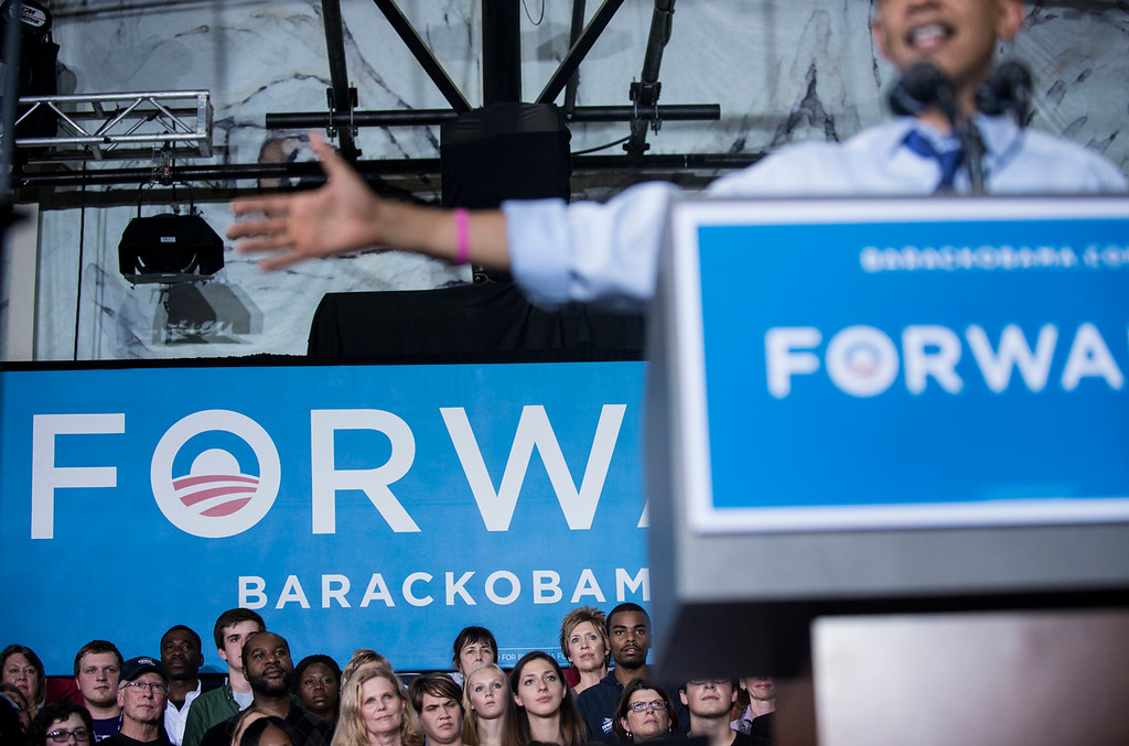 . US President Barack Obama during a rally at Cornell College October 17, 2012 in Mt. Vernon, Iowa. Obama is traveling to Iowa and Ohio to attend campaign rallies in the two swing states.  (BRENDAN SMIALOWSKI/AFP/Getty Images)