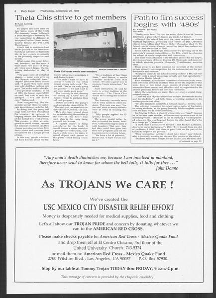 Daily Trojan, Vol. 100, No. 17, September 25, 1985