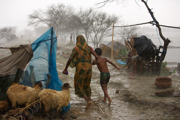 Cyclone Aila & People at River Coast, 2009, Bangladesh.