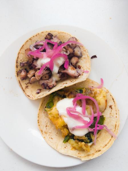 Cozumel el sazon octopus and chile relleno taco.jpg