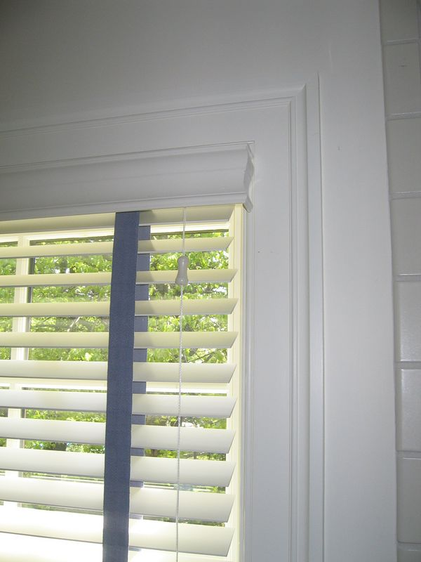 "2"" Wood blind showing valance return to existing molding"