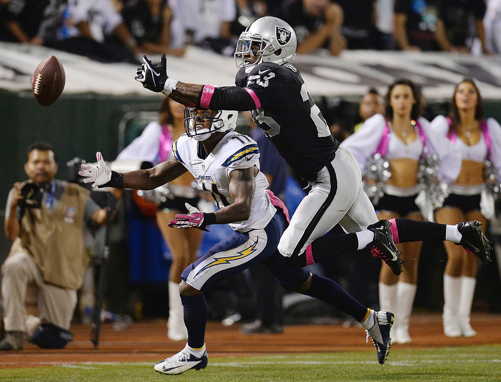 . Tracy Porter #23 of the Oakland Raiders breaks up a pass to Eddie Royal #11 of the San Diego Chargers during the third quarter at O.co Coliseum on October 6, 2013 in Oakland, California. The Raiders won the game 27-17. (Photo by Thearon W. Henderson/Getty Images)