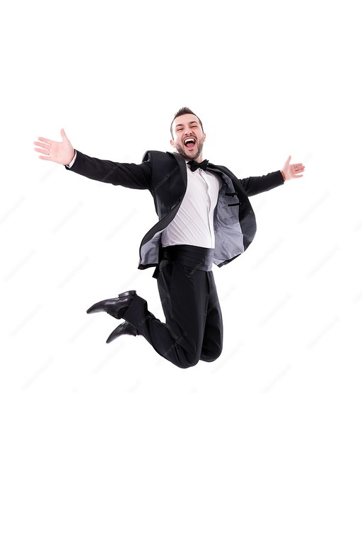 21656321 - man laughing and jumping up, enjoying his success - wearing black tuxedo and papillon tie, isolated on white background - real laugh, real jump