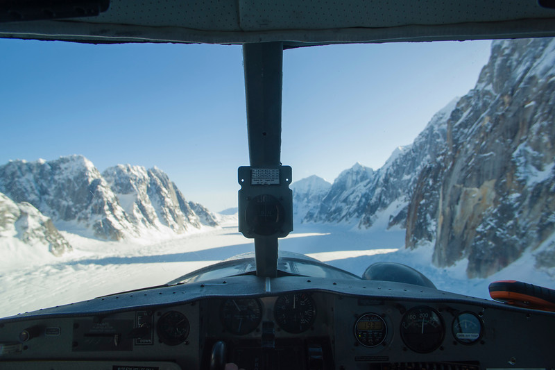 View from the cockpit of a DeHavilland Beaver DHC-2, flying over the Ruth Gorge, Alaska Range, Alaska