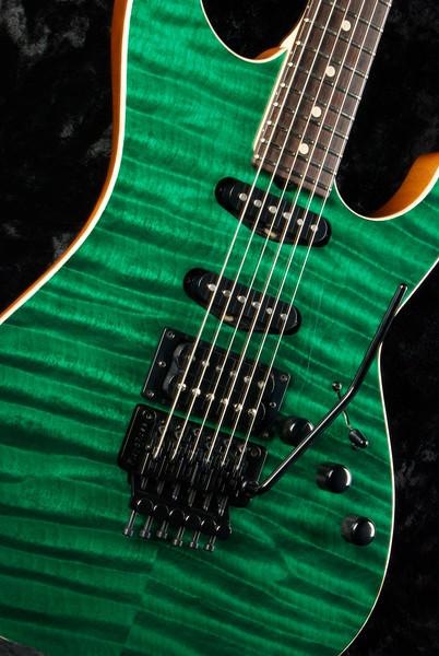 Bent Top Custom #3349 Deep Emerald Green, 5A Quilt Maple, SSH 60's Fats, Blown 59 Grosh pickups, Original Floyd Rose Locking Trem.