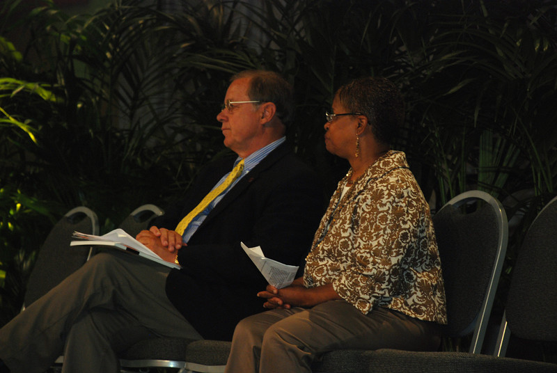 Ms. Connie Thomas and Dr. David Tiede on stage at Wednesday's Plenary 5 session.