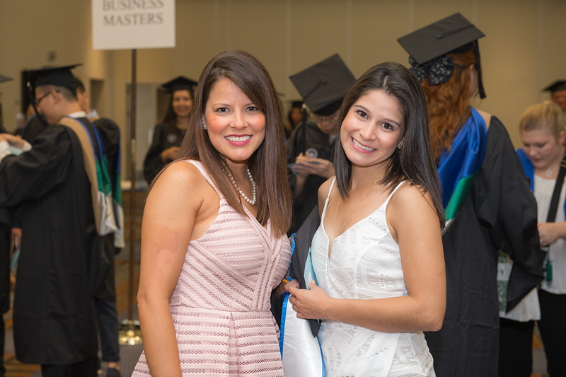 Roxanna Gomez(left) and Natalia Chaves at the TAMU-CC Summer Commencement ceremony on Saturday August 8, 2015.