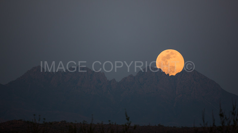 Full Moonrise over Four Peaks Mountain