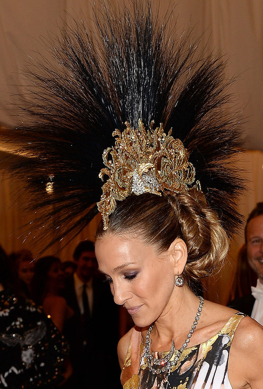 """. Sarah Jessica Parker attends the Costume Institute Gala for the \""""PUNK: Chaos to Couture\"""" exhibition at the Metropolitan Museum of Art on May 6, 2013 in New York City.  (Photo by Dimitrios Kambouris/Getty Images)"""